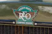 1929 REO Camping Wagon vintage camper truck has an original REO Heavy Duty Camping Wagon logo badge on the radiator