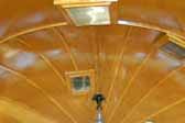 Photo shows amazing faceted wood ceiling panels in 1936 Airstream Clipper Trailer