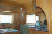 Vintage Leaded glass cabinet doors in 1937 Pierce Arrow Travelodge Trailer
