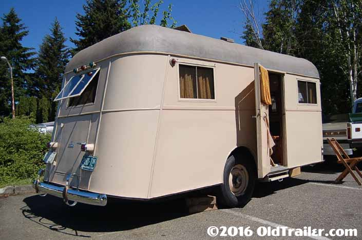 1937 vintage Vagabond travel trailer rear view