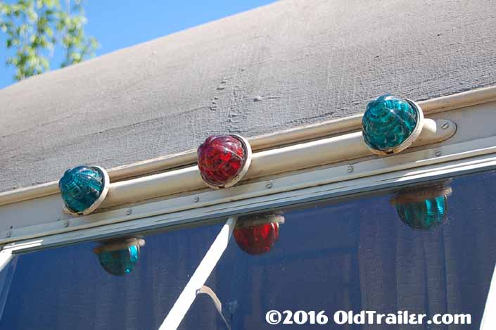 vintage 1937 Vagabond travel trailer with rear green and red running lights
