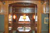 Photo of amazing woodwork and fixtures in rare 1938 Kozy Coach Trailer