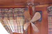 Close-up photo of Art-Deco ceiling fan in rare 1938 Kozy Coach Trailer