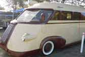 Picture of graceful streamlined headlight pod on 1941 Western Flyer motor home