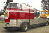 Restoration of a 1941 GM Futurliner bus required that it be turned into a flat-bed vehicle transport truck