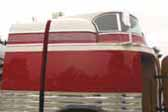 Photo shows the great art-deco details and top curved windshield in a 1941 GM Futurliner bus