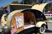 Vintage 1946 Kit Teardrop Trailer ready for camping at the beach
