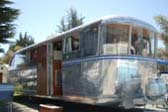 Wrap-Around Front Windows on vintage 1946 Spartan Manor Travel Trailer