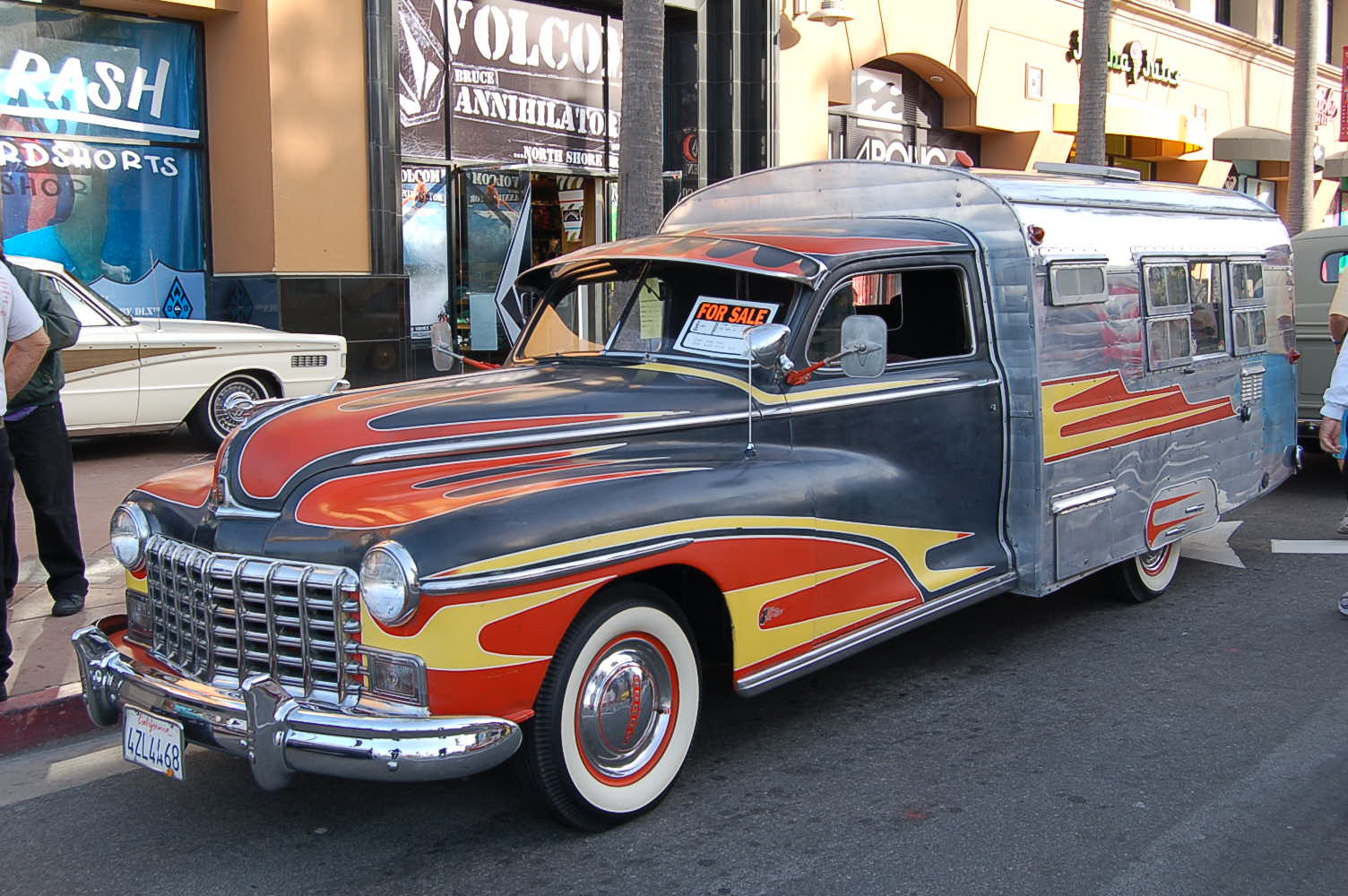 Great Retro Flames Paint Job On This Rare 1947 Dodge Fishing Car Camper