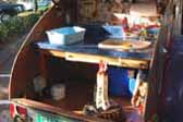 Photo of kitchen area in back of 1947 International Teardrop trailer