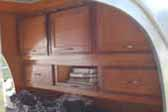 1947 Kit Teardrop Trailer Picture Showing Wood Cabinets in Sleeping Area