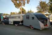 Picture of a 1949 vintage Vagabond trailer setup for camping at the Pismo Trailer Rally
