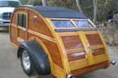 Exceptional 1947 Custom Built Wooden Teardrop Trailer Matches Woodie Wagon
