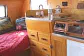Restored kitchen cabinets in vintage 1948 Boles Aero Trailer