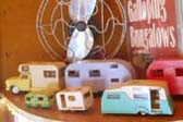 Colorful collection of vintage camper and trailer models in 1948 Masterbilt Trailer