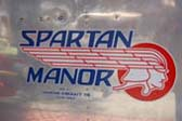 Shot of Perfect Spartan Factory Logo on Side of 1948 Spartan Manor Travel Trailer