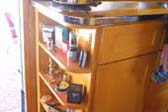 Interior Photo of Great Wooden What-Not Cabinet in 1948 Spartan Manor Trailer