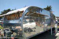 Vintage Spartan and Spartanette Tandem trailers, polished exteriors, warm varnished wood cabinets