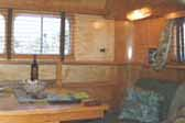 Photo shows curved wood ceiling panels in 1948 Westcraft Sequoia Trailer