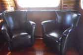 Photo of art-deco styled living room in vintage 1948 Westcraft Sequoia Trailer