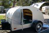 Photo of beautifully restored 1949 Hunter Teardrop trailer