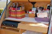 Immaculate wood work in kitchen area of 1949 Hunter Teardrop trailer
