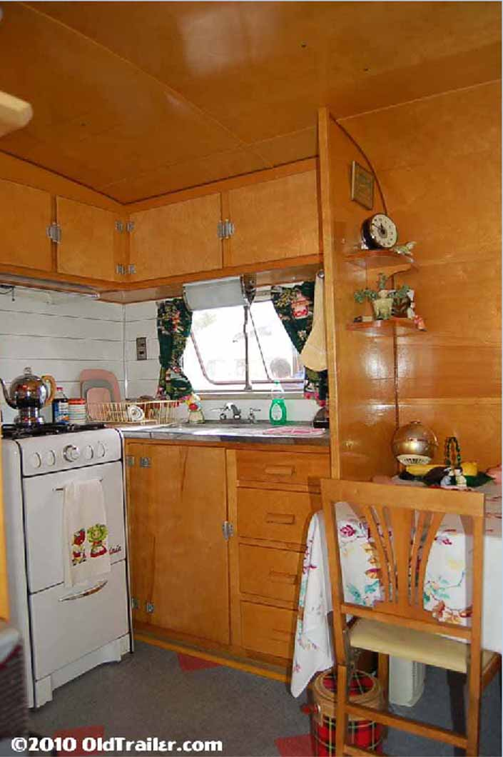 This vintage 1949 Vagabond trailer has a beautifully restored kitchen
