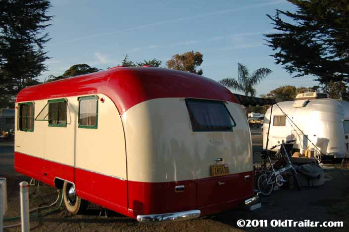 Beautiful 1950 Vagabond trailer restoration, showing the rear end