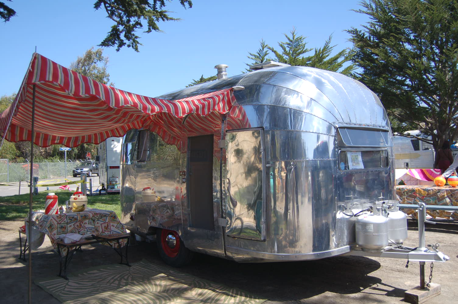 Red White And Green Striped Side Awning On A 1951 Airstream Cruisette Trailer