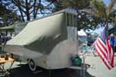 Classic 1951 Fallon Palace Tent Trailer Setup For Camping