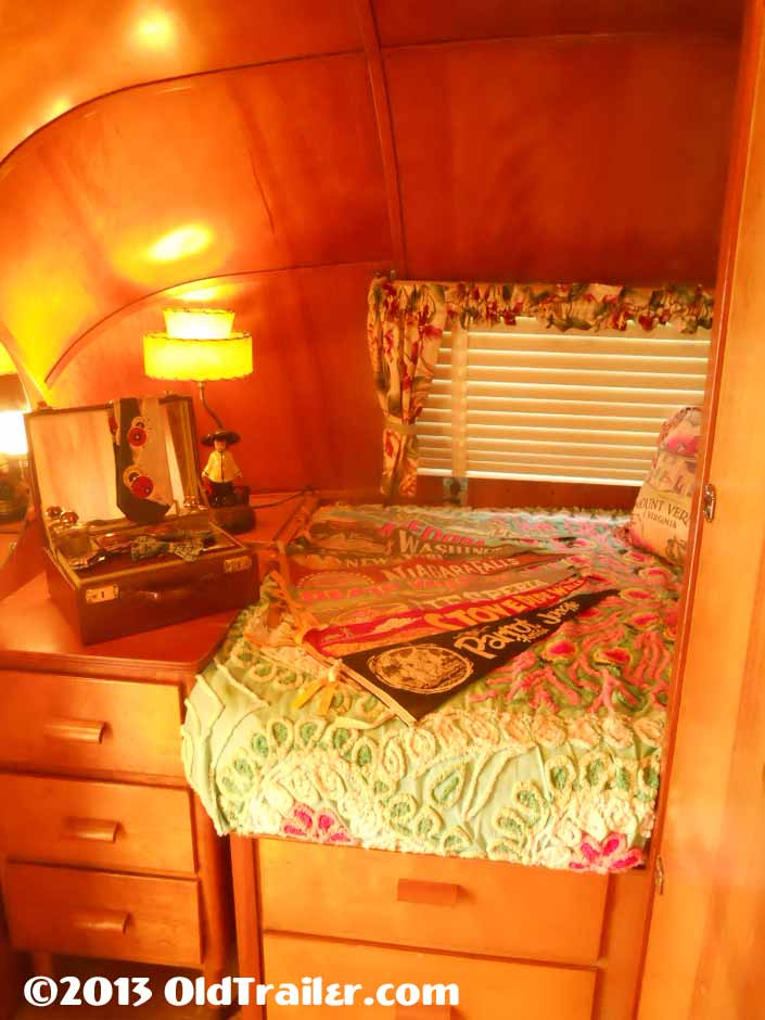 This vintage 1951 vagabond trailer has a cozy rear bedroom