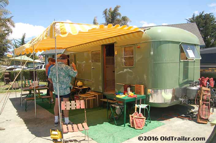 1951 Vagabond trailer setup for camping at the Pismo Vintage Trailer Rally