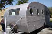 Very straight 1953 Airfloat vintage trailer with original ribbed aluminum siding
