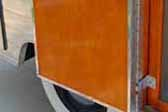 Photo of beautifully shellacked door panel on a rare 1953 Aljoa travel trailer