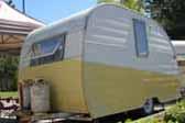 1954 Shasta 1400 Trailer in original yellow and white paint scheme