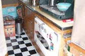 Practical Cooking Counter Area in 1954 Sport Ranger Tent Trailer