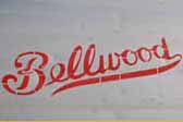 Awesome logo decal in red, on a 1955 Bellwood vintage trailer