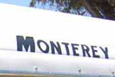 New Monterey reproduction logo decal on the front end of a 1955 Monterey vintage trailer