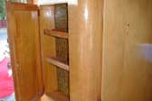 Classic 1955 Shasta Trailer showing original entryway cabinet