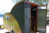 Photo of rear entrance door 1956 Campmaster Teardrop trailer canvas pop top