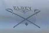 El Rey crossed-swords logo decal on the front of a 1956 El Rey vintage trailer