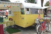Very clean classic 1957 Shasta travel trailer in yellow and white