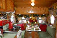 Vintage trailer interiors, wood work, appliances and decorations