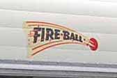 1958 Fireball vintage travel trailer with a cool Firenball logo decal on the front