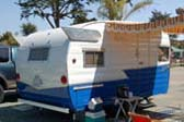 1958 Shasta Airflyte travel trailer with classic Shasta wings