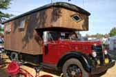 1959 Federal truck skillfully turned into an huge truck based camper with custom stained glass windows