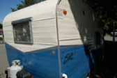 Vintage 1959 Shasta Trailer, 2 tone Blue and White Paint