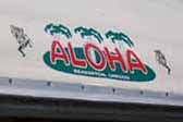 New Aloha trailer logo emblem on vintage 1960 Aloha 15ft travel trailer
