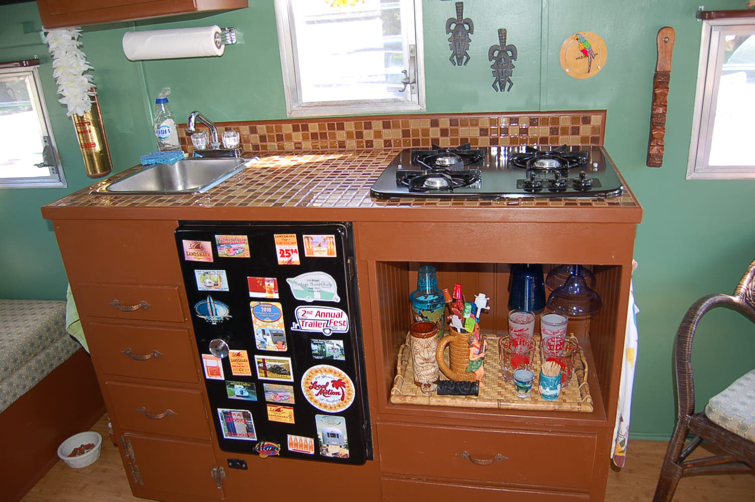 Kitchen Counter And Cabinets In 1960 Vintage Aloha 15 Ft Travel Trailer