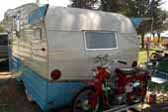 Rare 1961 Shasta Astrodome Trailer with Honda 90 Trail bike mounted on rear custom rack